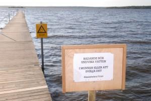 Varningsskylten vid Björkvikens badbrygga sitter kvar så länge eftersom algblomningen fortsätter. Foto: Urban Önell
