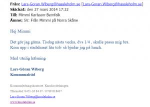 En del av mejlen mellan Norra Skånes chefredaktör Mimmi Karlsson-Bernfalk och kommunalrådet Lars-Göran Wiberg gick att återskapa.