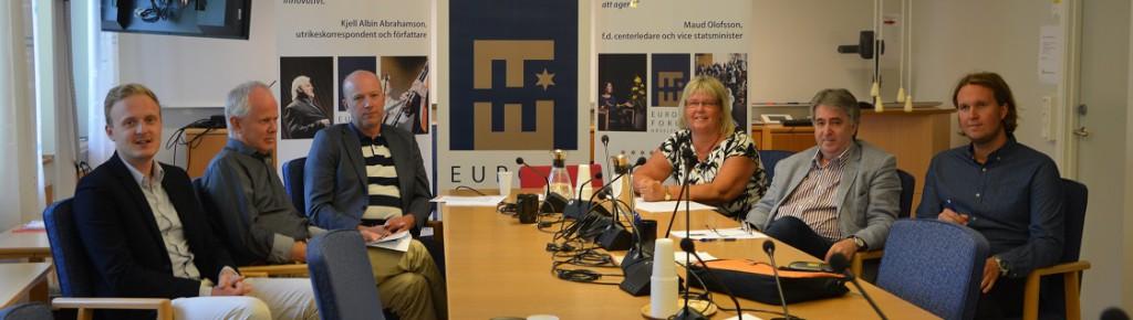 De ser fram emot Europaforum, från vänster Mattis Kristoffersson, Pär Palmgren, Mats Sturesson, Lena Wallentheim, Lorenz Pucher och Ludvig Einarsson. Foto: Berit Önell
