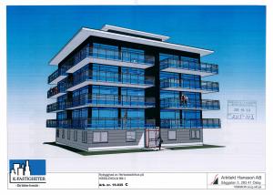 Enligt bygglovsansökan ska femvåningshuset i Officersparken se ut så här. Foto: Arkitekt Hansson AB