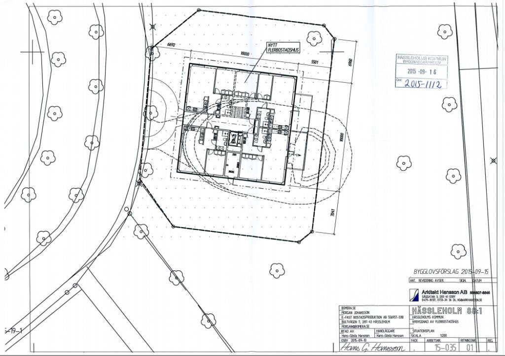 I Jacob Karlssons bygglovsansökan placeras femvåningshuset intill paviljongens scenöppning som den står idag. Paviljongen måste i så fall flyttas, vilket detaljplanen också säger. Foto: Arkitekt Hansson AB