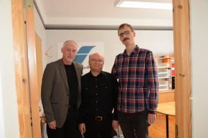 David Ottvall, i mitten, är frihetshandläggare, Lars Novämng och John Huntington initiativtagare till Frihetsförmedlingen.