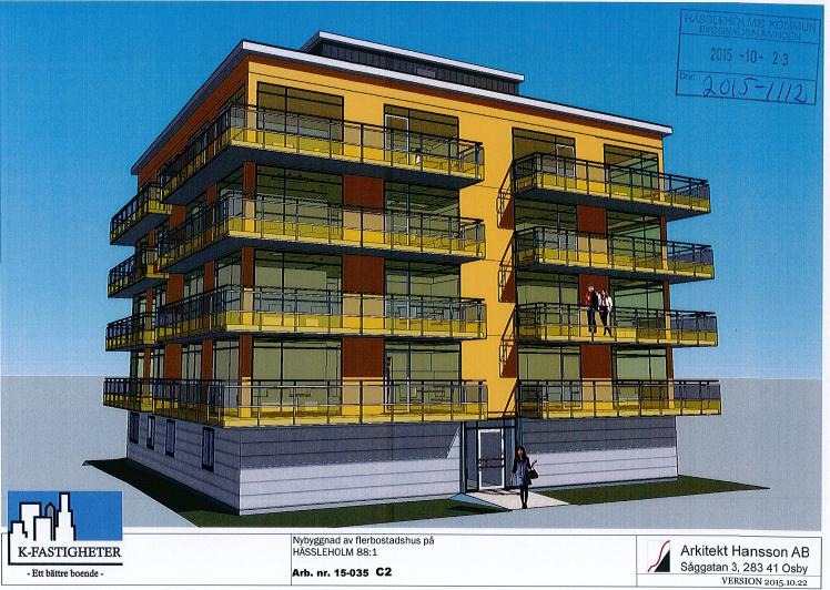 Det reviderade förslaget till bygglovsansökan liknar det gamla, förutom att fasadfärgen ändrats från svart till gul.
