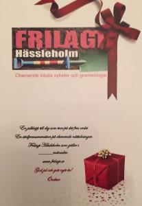 Presentkortet är i storlek A5 och har Frilagts logga på ena sidan och text med plats för valfritt belopp på andra sidan.