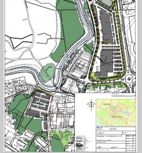 Planförslaget omfattar egentligen två fastigheter, handelsområdet vid Vankivavägen och bostäder och skola i sydvästra delen av området.