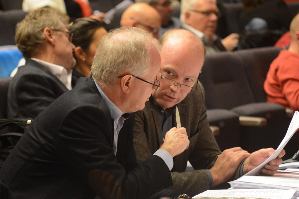 Kommunalråden Mats Sturesson (C) och Pär Palmgren (M) ville inte samarbeta före budgetfullmäktige, men hade nu en del diskussioner. Foto: Urban Önell