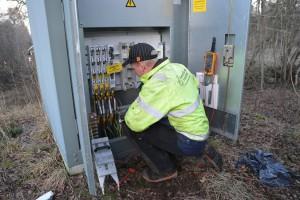 Eon hade många entreprenörer ute för att reparera elnätet efter stormen Gorm.