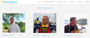 Fredrik Lerigon, vd på Fibertjänst AB, presenterar sig tillsammans med resten av ledningsgruppen på företagets hemsida.