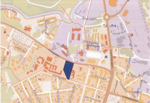 Utbyggnaden ska ske i det blå området, intill det befintliga ungdomshemmets lokaler.