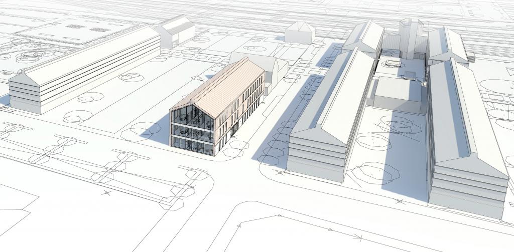 Här syns det planerade huset M6 vid Kaptensgatan.
