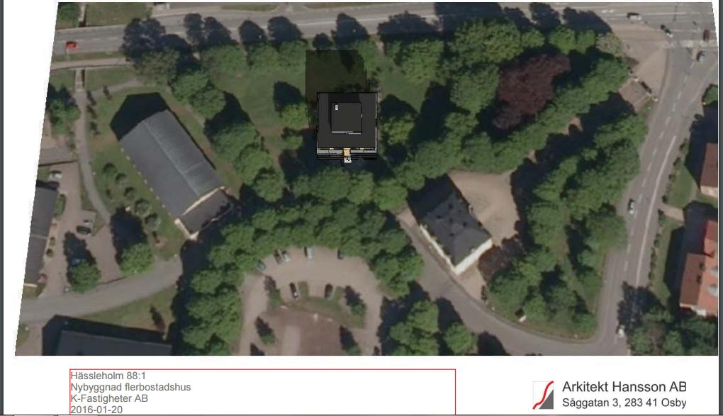 Bilden, som nu finns i handlingarna, visar hur det planerade femvåningshuset skulle placeras i Officersparken, med stora träd på alla sidor.