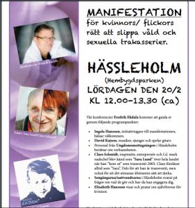 Programmet för manifestationen mot sexuella trakasserier på lördag är innehållsrikt.
