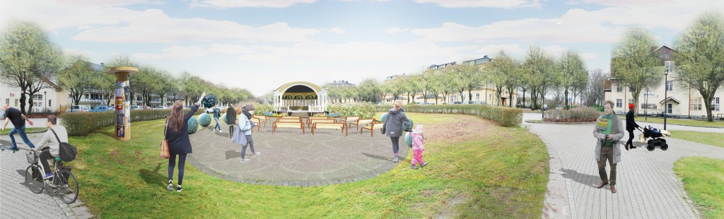 Skisserna visar musikpaviljongens nya placering på kaserngården. Skiss: Mono arkitekter AB