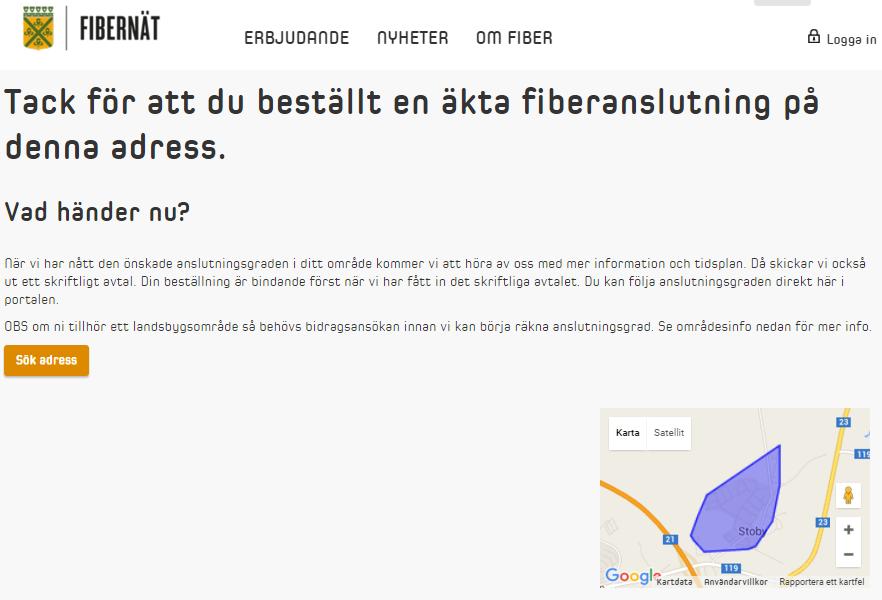 Skärmklipp-fiberbeställning