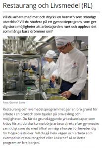 De flesta elever får jobb efter att ha gått Hässleholms restaurangskola, ändå har antalet sökande minskat kraftigt de senaste åren. Bilden är från kommunens hemsida.