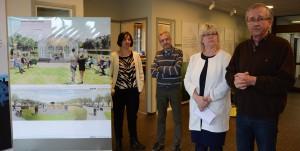 Den styrande minoriteten informerade om planerna för paviljongen, från vänster Dolores Öhman (MP), Per-Åke Purk (V), Lena Wallentheim (S) och Lars Olsson (C ). Foto: Berit Önell