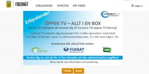 Så här ser erbjudandet från ConnectTV ut på kommunens fiberportal. Intrycket är att det går att beställa nu, trots att det inte finns någon Hässleholms-knapp att klicka på för den som går vidare.