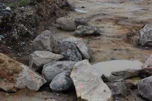 Diverse skräp från den tidigare bilskroten sticker upp ur marken.