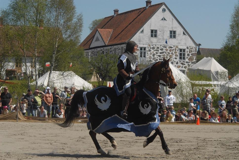 Riddare Avalon från Glimmingehus var ett av de stiliga ekipagen i SM i tornerspel vid Hovdala slott. Foto: Urban Önell