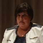 Kommunfullmäktiges ordförande Irene Nilsson S) ville inte prata om väktarnas närvaro. Foto: urban Önell