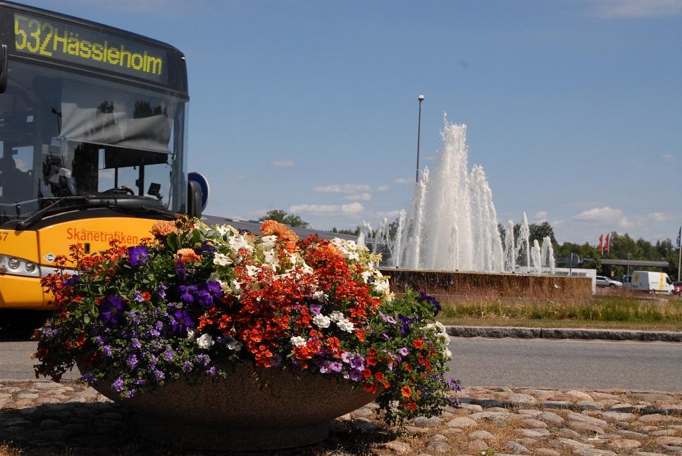 Den som besöker Hässleholm kan knappast undgå den blomsterprakt som smyckar torg och infarter. Här vid norra infarten