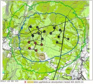 Länsstyrelsen upphäver delar av detaljplanen så att fem vindkraftverk utgår, dessa är markerade med röda kryss.