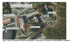 Kartan visar var de misstänkta föroreningskällorna på tekniska kontorets fastighet finns.