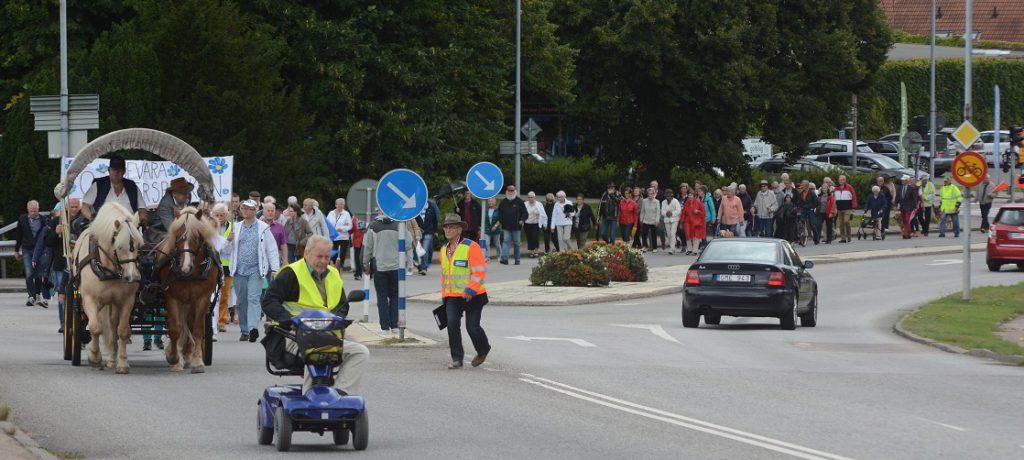 Drygt 100 personer gick i demonstrationståget från stadshuset till musikpaviljongen på T4.