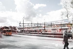 Kommunen har långt gångna planer på hur höghastighetsstationen ska se ut, här en bild från kommunens informationsfolder, vy från Tingshusgatan.