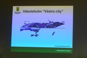 Bilder på den nya stadsdelen Västra City visades för deltagarna i miljökonferensen. Foto: Urban Önell