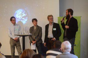 Vid paneldebatten om skånsk klimatsamverkan deltog från vänster Markku Rummukainen, Annelie Johansson, Thomas Hansson och Petter Forkstam.