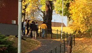 Vittnets bilder visar hur gängen ger sig iväg från Hembygdsparken innan polisen kommer dit. Mannen i orange tröja blev sparkad och trampad i ansiktet när han låg ner på asfalten.