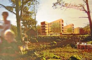 Det blir inga höghus på Sjörröds gård. Kommunen illustrerade förslaget till detaljplan med en lantlig idyll framför fyravåningshusen.