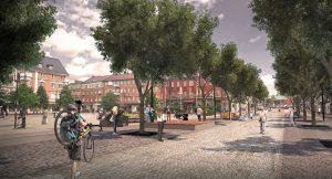 Första Avenyen blir gågata ända ner till Järnvägsgatan när centrum byggs om. Foto: Cowi AB