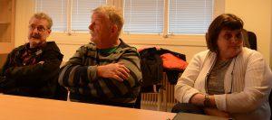 Ledande företrädare för den styrande minoriteten var på plats vid tekniska nämndens presskonferens om paviljongflytten, från vänster Per-Åke Purk V ), Hans-Göran hansson MP) och Irene Nilsson S)S).