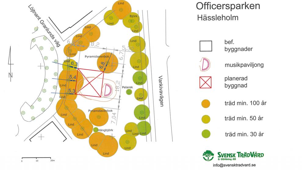 Arboristen de Gourét Litchfield har analyserat hur träden i Officersparken påverkas av det planerade husbygget.