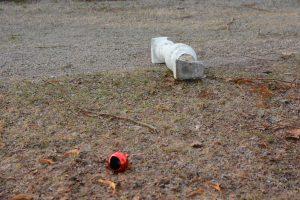 Ytterligare en bilaster slets loss från paviljongens balustrad och både den och julpynt kastades iväg.