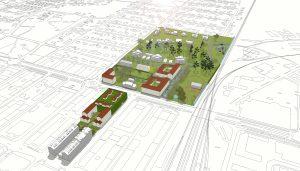 Så här ser planförslaget ut i en vy mot söder med bostäder och parkeringshus på Vänhem närmast och Paradiset på andra sidan Kristianstadsvägen.