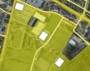 Tre alternativa placeringar föreslås på Österåsområdet. Parkeringsplatsen har fördelen att den ligger närmast centrum, men om den används behövs ett parkeringshus.