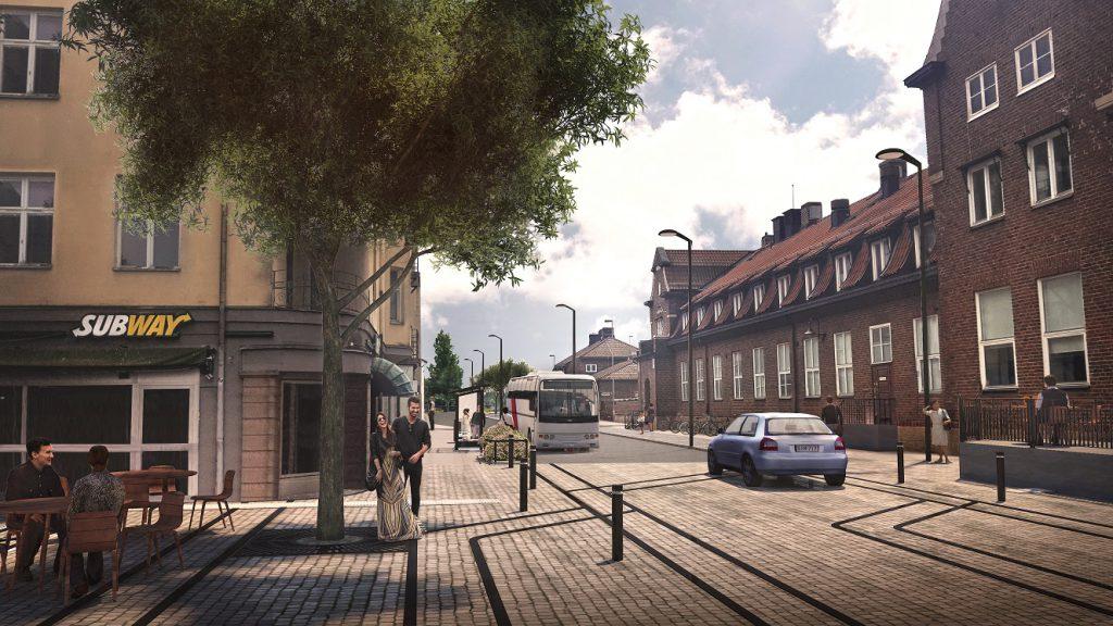 Järnvägsgatan från stationen och söderut är första etappen i centrumombyggnaden. Illustration: Cowi AB