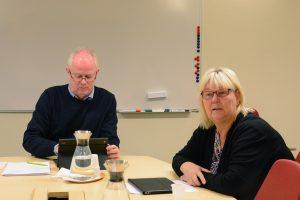 Efter onsdagens kommunstyrelsemöte ansåg Lena Wallentheim (S) det klarlagt att alliansen inte har stöd för sitt budgetförslag av SD och FV, vilket kan göra att hela maktskiftet faller. Pär Palmgren var också bekymrad över att SD och FV på flera punkter gick emot alliansens budget. Foto: Berit Önell