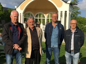 Talare vid paviljonginvigningen var från vänster Pär Palmgren, Arne Dahlström och Mats Olsson, här tillsammans med Mats Svensson.