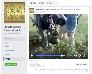 Barnsoldater trakasseras på filmklipp på moskéns Facebooksida.