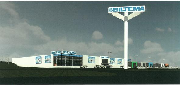 Så här är det nya handelsområdet tänkt, med Biltema i förgrunden och övriga butiker i en stor gemensam byggnad i bakgrunden. Skiss: Byggingenjörsbyrån Gnosjö
